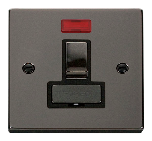 Scolmore VPBN752BK - 13A Fused 'Ingot' Switched Connection Unit With Neon - Black