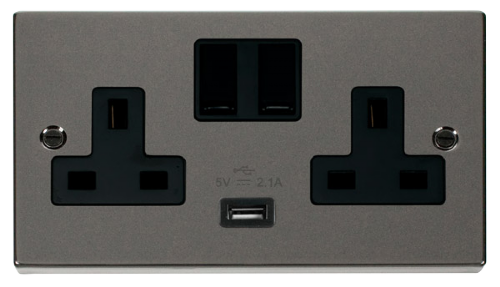 Scolmore VPBN770BK - 13A 2G Switched Socket With 2.1A USB Outlet (Twin Earth) - Black