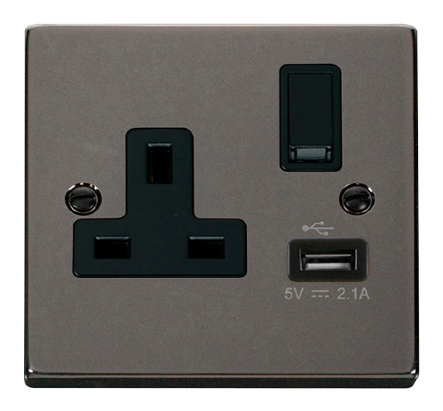Scolmore VPBN771BK - 13A 1G Switched Socket With 2.1A USB Outlet - Black