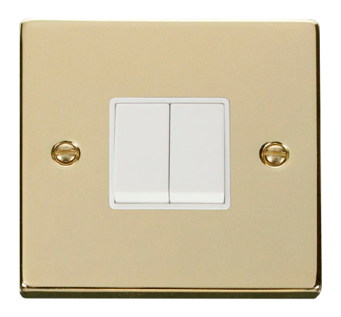 Scolmore VPBR012WH - 2 Gang 2 Way 10AX Switch - White - Scolmore - Sparks Warehouse