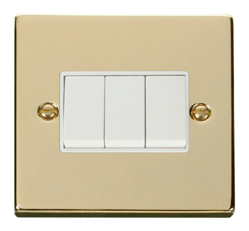 Scolmore VPBR013WH - 3 Gang 2 Way 10AX Switch - White - Scolmore - Sparks Warehouse
