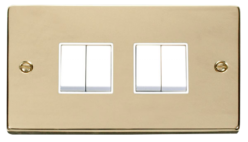 Scolmore VPBR019WH - 4 Gang 2 Way 10AX Switch - White - Scolmore - Sparks Warehouse