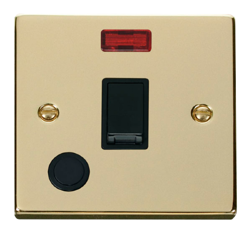Scolmore VPBR023BK - 20A 1 Gang DP Switch With Flex Outlet And Neon - Black - Scolmore - Sparks Warehouse