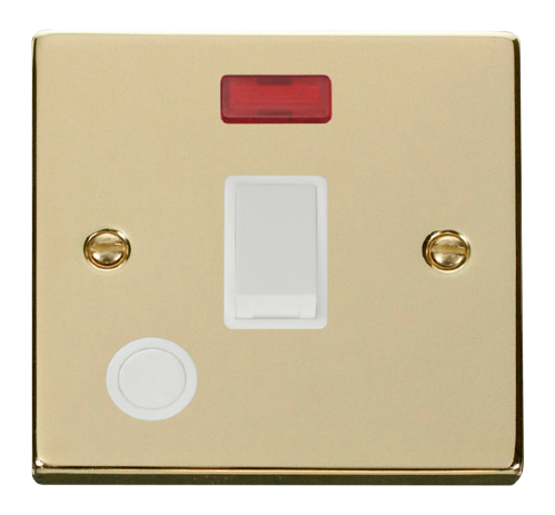 Scolmore VPBR023WH - 20A 1 Gang DP Switch With Flex Outlet And Neon - White - Scolmore - Sparks Warehouse