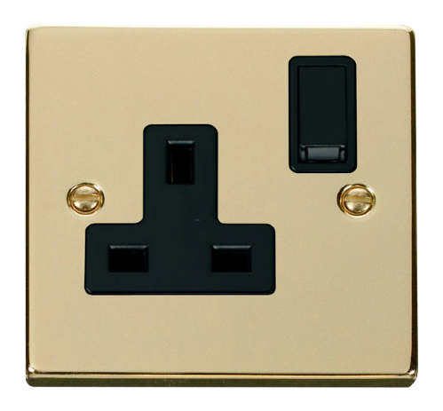 Scolmore VPBR035BK - 1 Gang 13A DP Switched Socket Outlet - Black - Scolmore - Sparks Warehouse