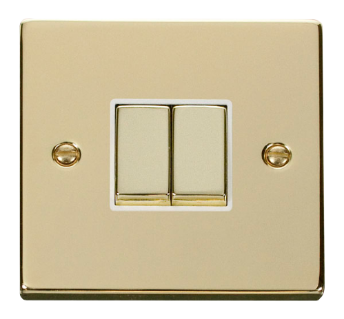 Scolmore VPBR412WH - 2 Gang 2 Way 'Ingot' 10AX Switch - White - Scolmore - Sparks Warehouse