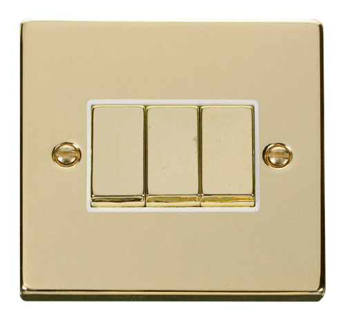 Scolmore VPBR413WH - 3 Gang 2 Way 'Ingot' 10AX Switch - White - Scolmore - Sparks Warehouse