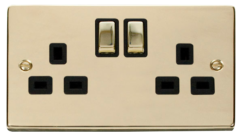 Scolmore VPBR536BK - 2 Gang 13A DP 'Ingot' Switched Socket Outlet - Black - Scolmore - Sparks Warehouse