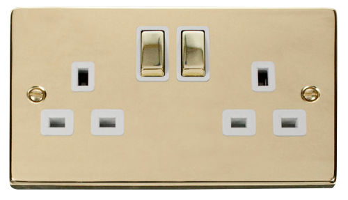 Scolmore VPBR536WH - 2 Gang 13A DP 'Ingot' Switched Socket Outlet - White - Scolmore - Sparks Warehouse