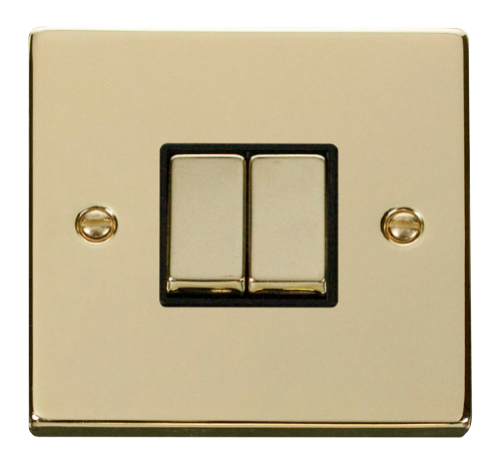 Scolmore VPBRBK-SMART2 - 1G Plate 2 Apertures Supplied With 2 x 10AX 2 Way Ingot Retractive Switch Modules - Black - Scolmore - Sparks Warehouse