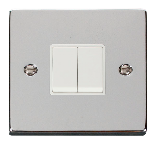 Scolmore VPCH012WH - 2 Gang 2 Way 10AX Switch - White - Scolmore - Sparks Warehouse