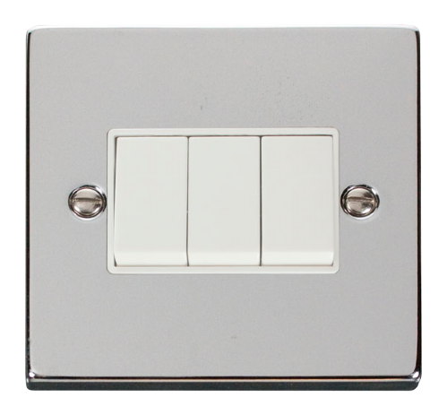 Scolmore VPCH013WH - 3 Gang 2 Way 10AX Switch - White - Scolmore - Sparks Warehouse