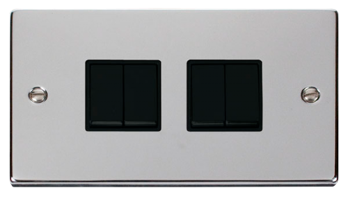 Scolmore VPCH019BK - 4 Gang 2 Way 10AX Switch - Black - Scolmore - Sparks Warehouse