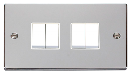 Scolmore VPCH019WH - 4 Gang 2 Way 10AX Switch - White - Scolmore - Sparks Warehouse