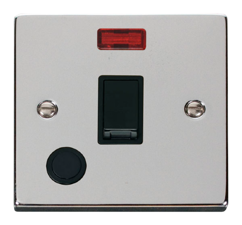 Scolmore VPCH023BK - 20A 1 Gang DP Switch With Flex Outlet And Neon - Black - Scolmore - Sparks Warehouse