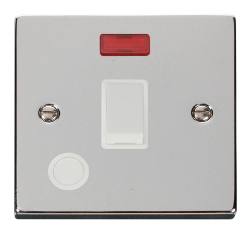 Scolmore VPCH023WH - 20A 1 Gang DP Switch With Flex Outlet And Neon - White - Scolmore - Sparks Warehouse