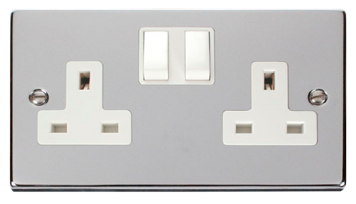 Scolmore VPCH036WH - 2 Gang 13A DP Switched Socket Outlet - White - Scolmore - Sparks Warehouse