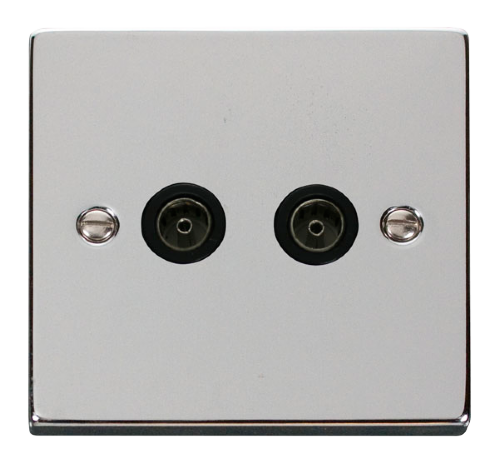 Scolmore VPCH066BK - Chrome Twin Coaxial Socket Outlet - Black inserts - Scolmore - Sparks Warehouse