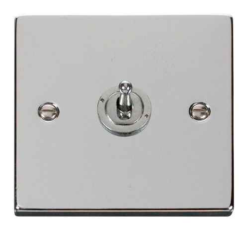 Scolmore VPCH421 Deco Polished Chrome - 1 Gang 2 Way 10AX Toggle Switch - Scolmore - Sparks Warehouse