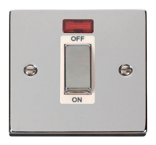 Scolmore VPCH501WH - Ingot 1 Gang 45A DP Switch With Neon - White