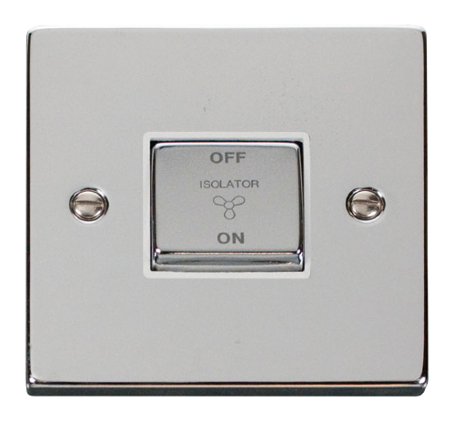 Scolmore VPCH520WH - 10A 1 Gang 'Ingot' 3 Pole Fan Isolation Switch - White