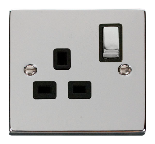 Scolmore VPCH535BK - 1 Gang 13A DP 'Ingot' Switched Socket Outlet - Black