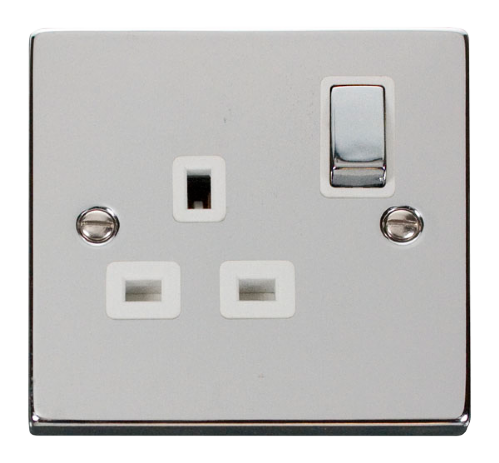 Scolmore VPCH535WH - 1 Gang 13A DP 'Ingot' Switched Socket Outlet - White - Scolmore - Sparks Warehouse