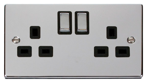 Scolmore VPCH536BK - 2 Gang 13A DP 'Ingot' Switched Socket Outlet - Black