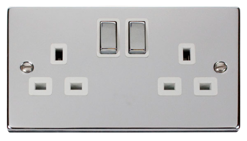 Scolmore VPCH536WH - 2 Gang 13A DP 'Ingot' Switched Socket Outlet - White