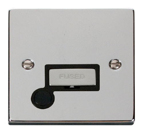 Scolmore VPCH550BK - 13A Fused 'Ingot' Connection Unit With Flex Outlet - Black
