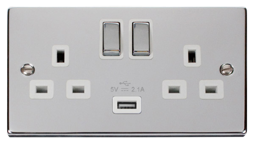 Scolmore VPCH570WH - 13A 2G Ingot Switched Socket With 2.1A USB Outlet (Twin Earth) - White