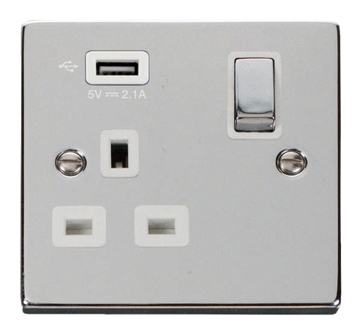 Scolmore VPCH571UWH - 13A 1G Ingot Switched Socket With 2.1A USB Outlet - White - Scolmore - Sparks Warehouse