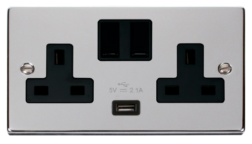 Scolmore VPCH770BK - 13A 2G Switched Socket With 2.1A USB Outlet (Twin Earth) - Black - Scolmore - Sparks Warehouse
