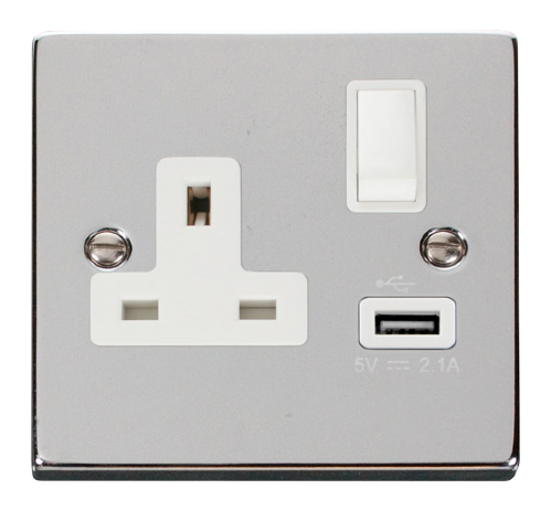 Scolmore VPCH771WH - 13A 1G Switched Socket With 2.1A USB Outlet - White - Scolmore - Sparks Warehouse