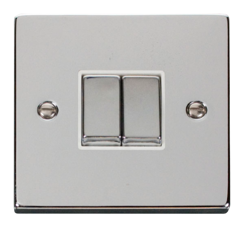 Scolmore VPCHWH-SMART2 - 1G Plate 2 Apertures Supplied With 2 x 10AX 2 Way Ingot Retractive Switch Modules - White