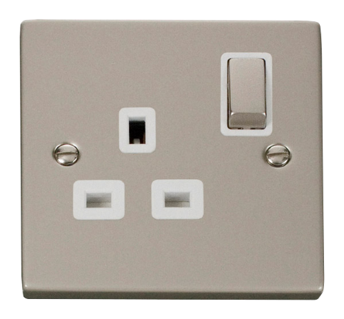Scolmore VPPN535WH - 1 Gang 13A DP 'Ingot' Switched Socket Outlet - White