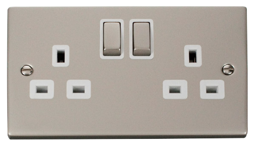 Scolmore VPPN536WH - 2 Gang 13A DP 'Ingot' Switched Socket Outlet - White