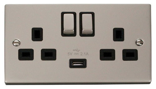 Scolmore VPPN570BK - 13A 2G Ingot Switched Socket With 2.1A USB Outlet (Twin Earth) - Black