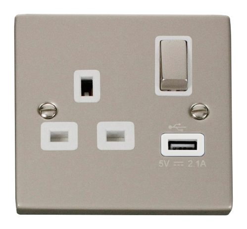 Scolmore VPPN571WH - 13A 1G Ingot Switched Socket With 2.1A USB Outlet - White