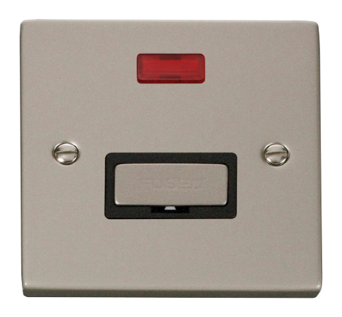 Scolmore VPPN753BK - 13A Fused 'Ingot' Connection Unit With Neon - Black