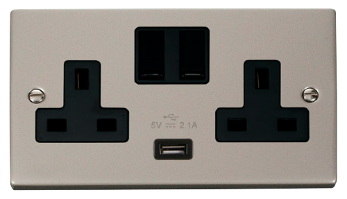 Scolmore VPPN770BK - 13A 2G Switched Socket With 2.1A USB Outlet (Twin Earth) - Black