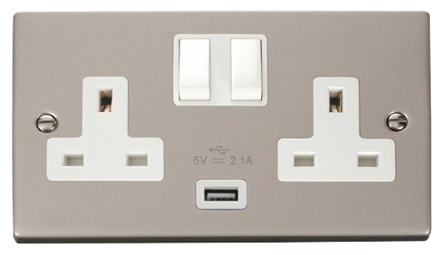 Scolmore VPPN770WH - 13A 2G Switched Socket With 2.1A USB Outlet (Twin Earth) - White