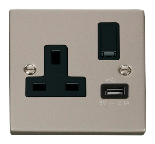 Scolmore VPPN771BK - 13A 1G Switched Socket With 2.1A USB Outlet - Black