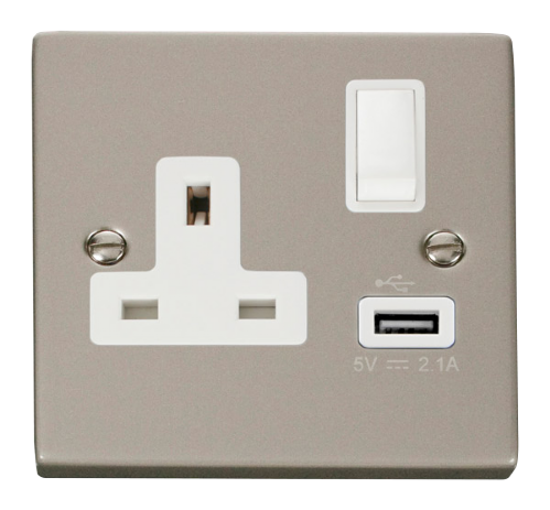 Scolmore VPPN771WH - 13A 1G Switched Socket With 2.1A USB Outlet - White
