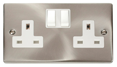 Scolmore VPSC036WH - 2 Gang 13A DP Switched Socket Outlet - White