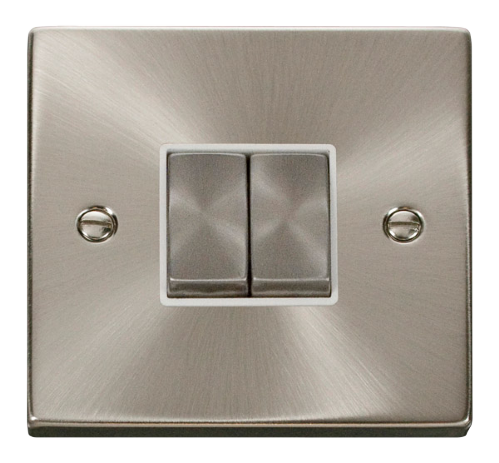 Scolmore VPSC412WH - 2 Gang 2 Way 'Ingot' 10AX Switch - White