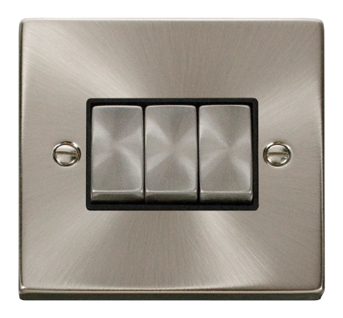 Scolmore VPSC413BK - 3 Gang 2 Way 'Ingot' 10AX Switch - Black - Scolmore - Sparks Warehouse