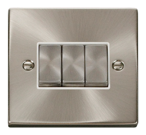 Scolmore VPSC413WH - 3 Gang 2 Way 'Ingot' 10AX Switch - White