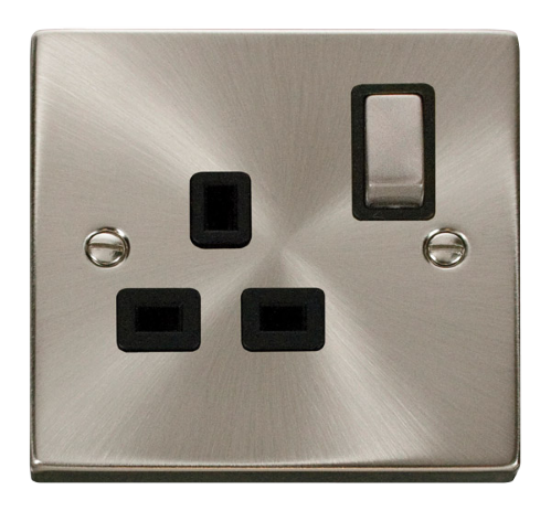 Scolmore VPSC535BK - 1 Gang 13A DP 'Ingot' Switched Socket Outlet - Black