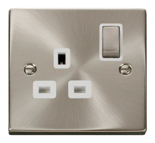 Scolmore VPSC535WH - 1 Gang 13A DP 'Ingot' Switched Socket Outlet - White - Scolmore - Sparks Warehouse